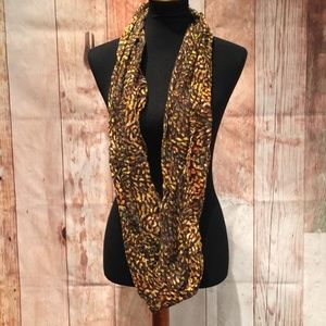 Long brown gold green speckled infinity scarf P148